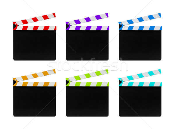 Colorful film clapperboards isolated on white background  Stock photo © sqback
