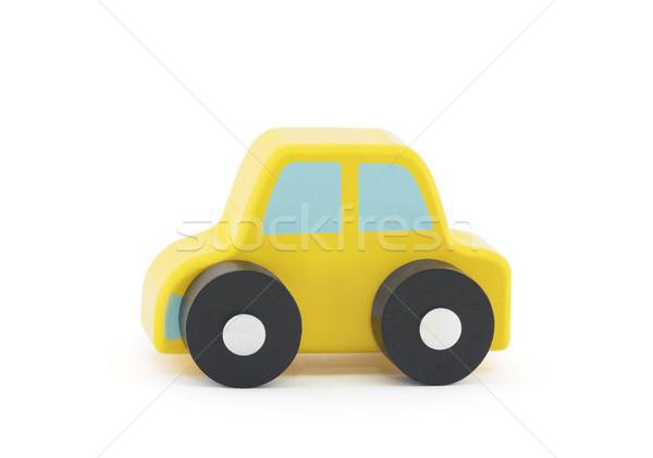 Foto stock: Pequeno · brinquedo · de · madeira · carro · branco · criança