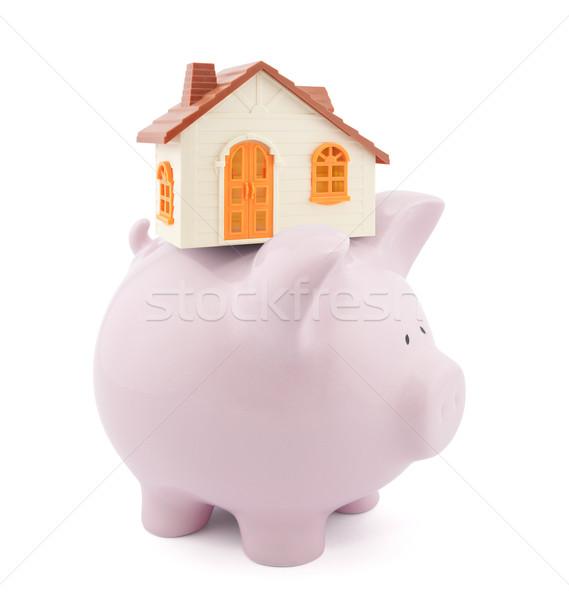 Otthoni pénzügyek ház ajtó narancs bank disznó Stock fotó © sqback