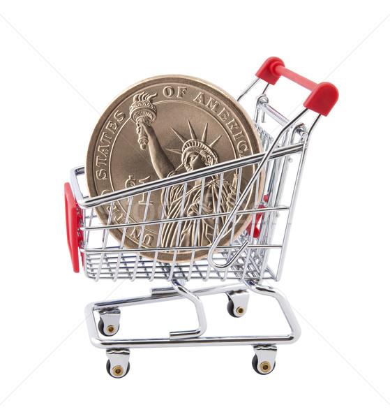 Shopping cart with American One Dollar coin Stock photo © sqback