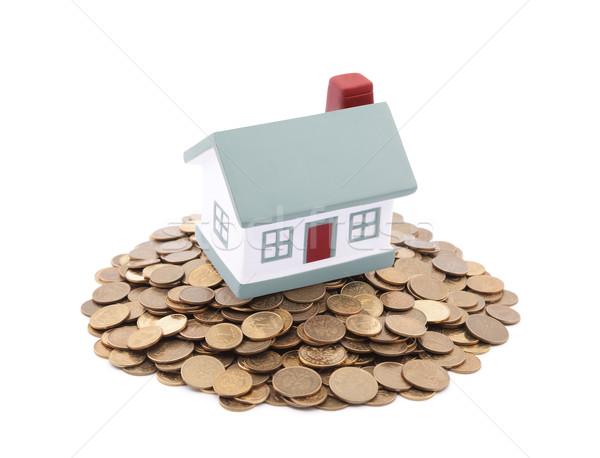 Pequeño juguete casa monedas negocios Foto stock © sqback