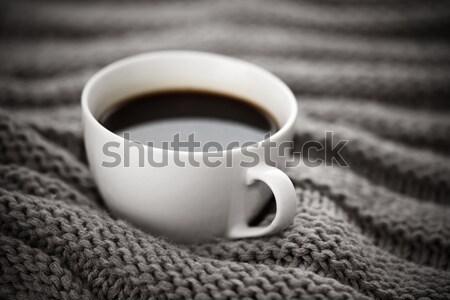 Beker koffie gebreid wol mode textiel Stockfoto © sqback