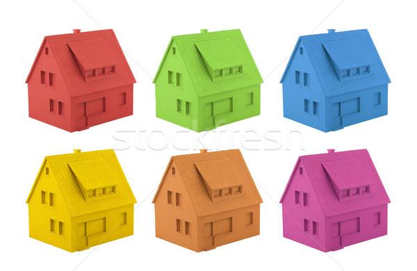 Kleurrijk huis geïsoleerd witte gebouw home Stockfoto © sqback