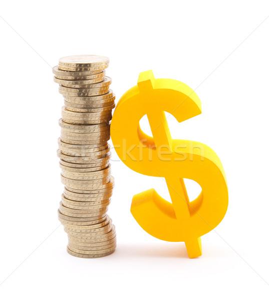 Stock fotó: Boglya · arany · érmék · dollár · szimbólum · üzlet · felirat