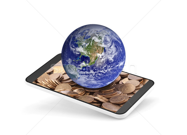 World globe on mobile phone with money on the screen. Earth photo provided by Nasa.  Stock photo © sqback