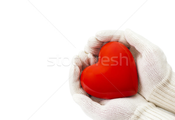 Red heart in white warm wool gloves isolated on white with clipping path  Stock photo © sqback