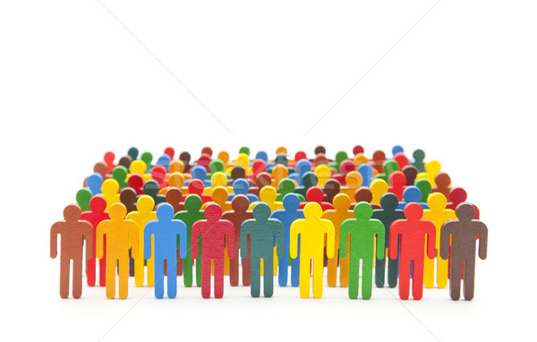 Colorful painted group of people figures on white background  Stock photo © sqback