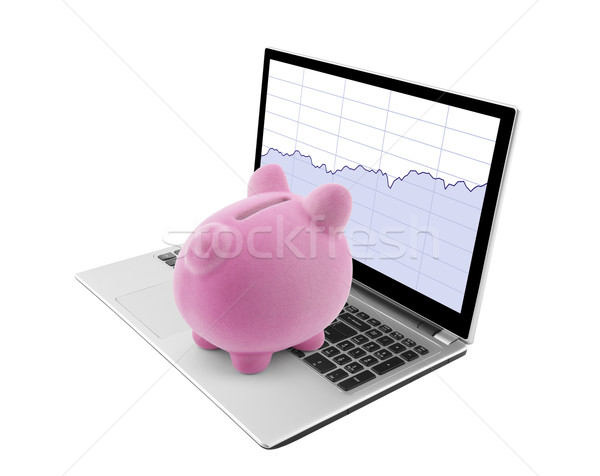 Piggy bank looking at laptop with stock charts Stock photo © sqback