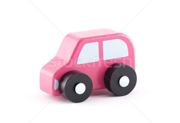 Küçük ahşap oyuncak araba beyaz çocuk Stok fotoğraf © sqback