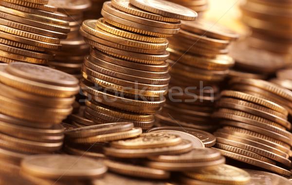 Złoty monet makro shot ceny tle Zdjęcia stock © sqback