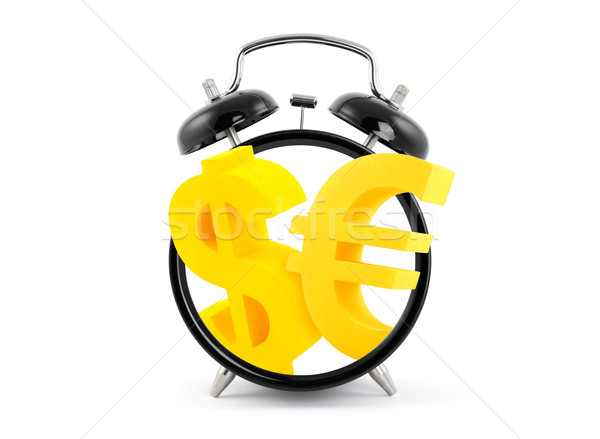 Az idő pénz ébresztőóra dollár Euro szimbólumok üzlet Stock fotó © sqback