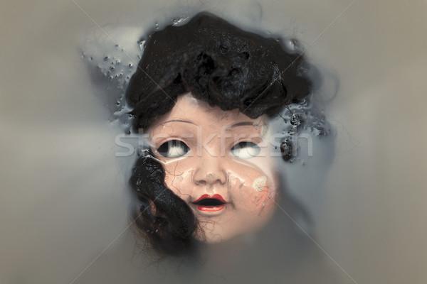 Arrepiante boneca cara escuro cabeça vintage Foto stock © sqback