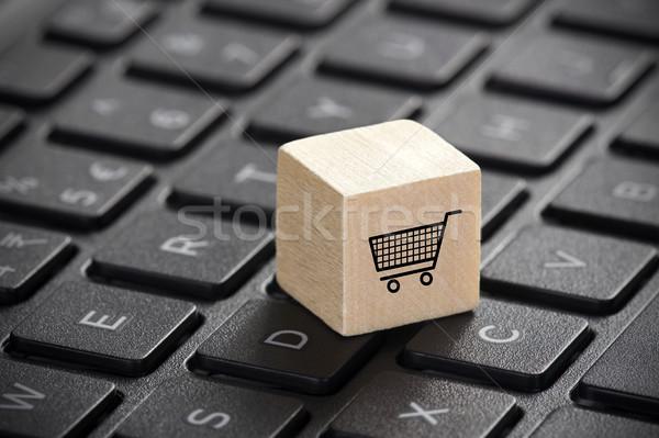 木製 ショッピングカート グラフィック ノートパソコンのキーボード オンラインショッピング ビジネス ストックフォト © sqback