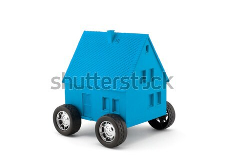 Red house on wheels isolated on white with clipping path  Stock photo © sqback