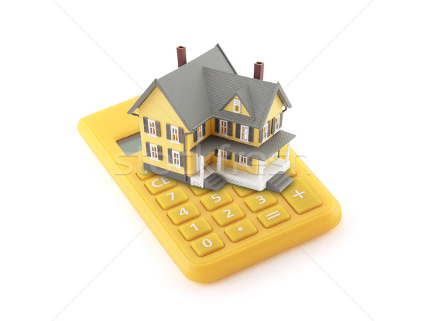 Foto stock: Hipoteca · calculadora · negocios · modelo · casa · financiar