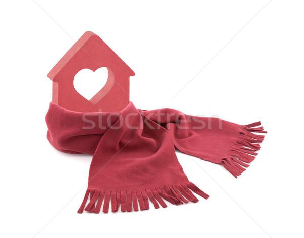 Küçük kırmızı ev kalp eşarp yalıtılmış Stok fotoğraf © sqback