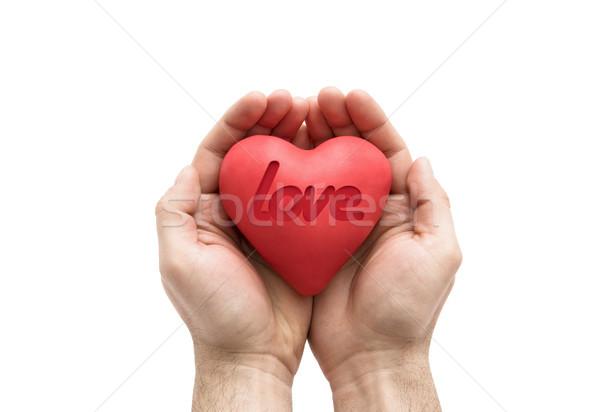 Kırmızı kalp sevmek kelime eller hediye Stok fotoğraf © sqback