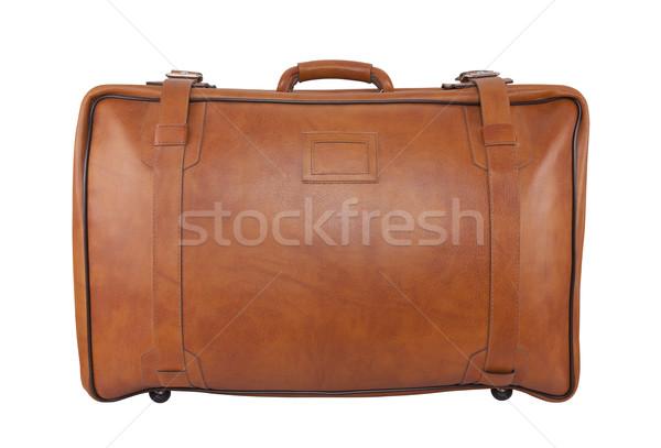 Oude bruin leder zak geïsoleerd witte Stockfoto © sqback