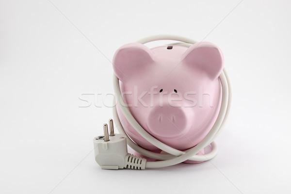 Energia poupança piggy bank luz cabo Foto stock © sqback