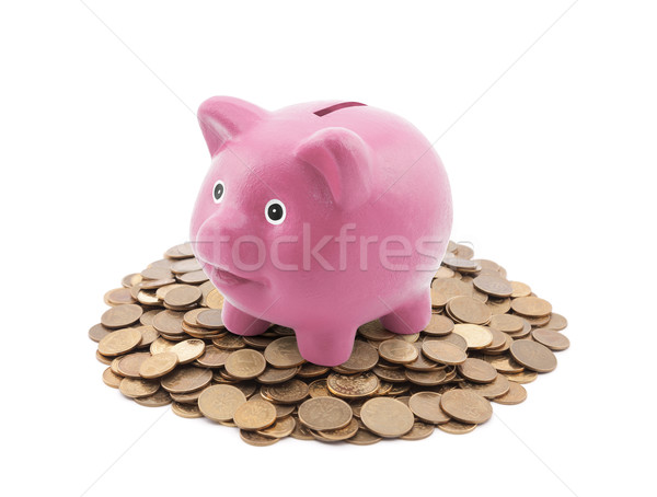Stockfoto: Roze · spaarvarken · munten · business · speelgoed