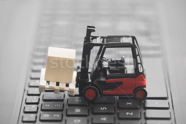 Miniatura legno tastiera del computer portatile tastiera camion Foto d'archivio © sqback
