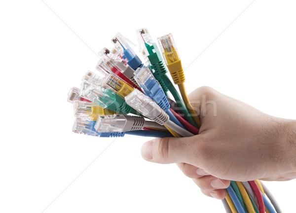 Hand kleurrijk internet kabels Stockfoto © sqback