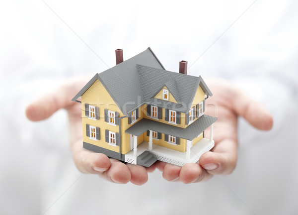 Yellow house in hands Stock photo © sqback