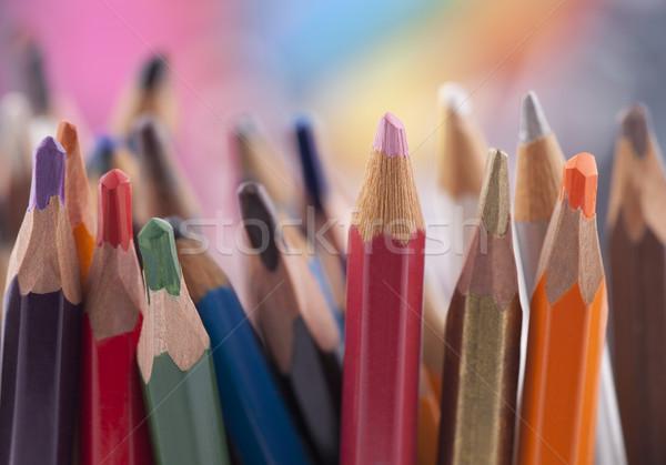 Stock fotó: Színes · ceruzák · csoport · szivárvány · piros · zsírkréták