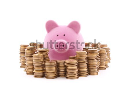 Piggy bank with stacks of coins. Clipping path included.  Stock photo © sqback