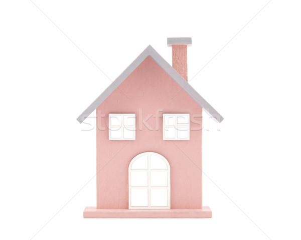 Pequeno brinquedo de madeira casa isolado branco Foto stock © sqback