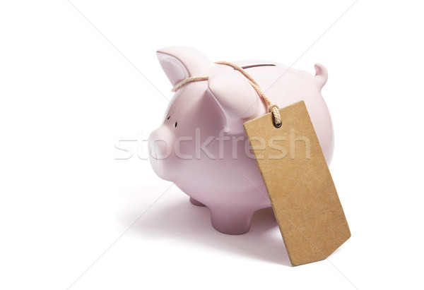 Piggy bank with blank tag tied with string.  Stock photo © sqback