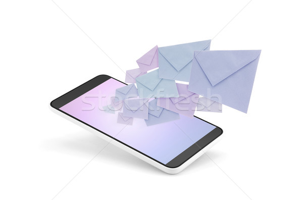 Smartphone with envelopes coming out of the screen on white background  Stock photo © sqback