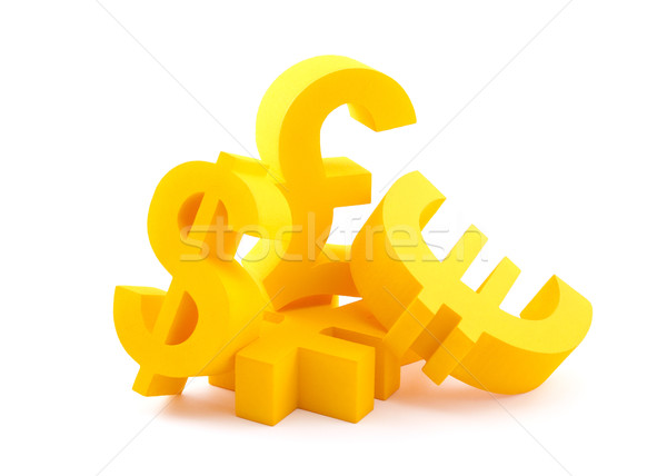 Symbols of currency with clipping path Stock photo © sqback