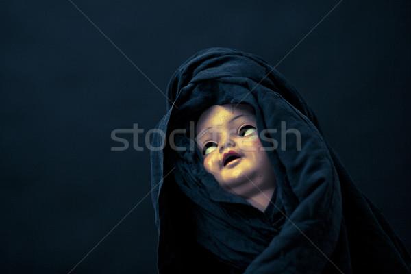 Horripilante muneca cara retro oscuro antiguos Foto stock © sqback