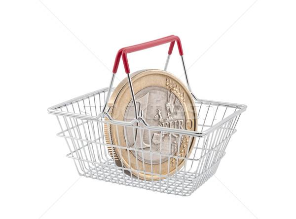 Bevásárlókosár egy Euro érme fehér pénz Stock fotó © sqback