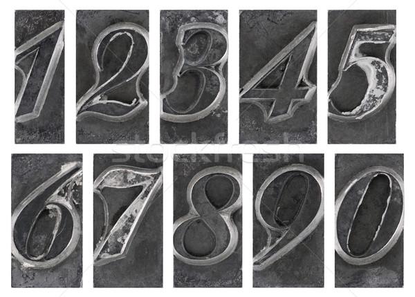 Oude metaal type nummers geïsoleerd witte Stockfoto © sqback