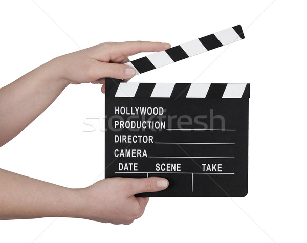 Hands holding a film clapperboard Stock photo © sqback