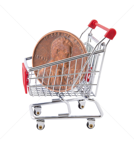 Panier penny blanche affaires métal Shopping Photo stock © sqback