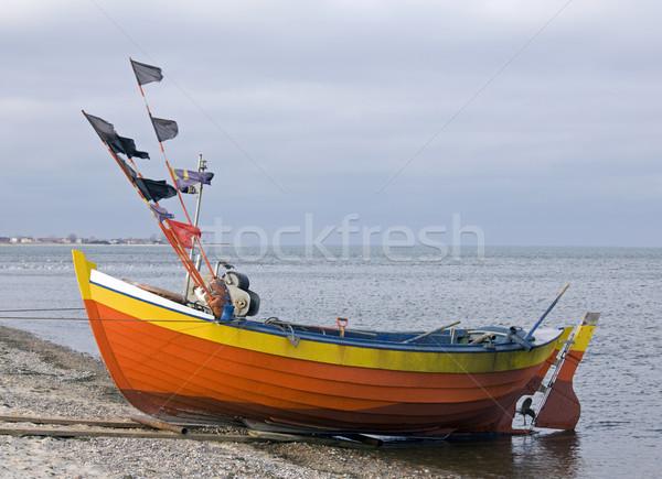 Rybak łodzi wody charakter morza pomarańczowy Zdjęcia stock © sqback