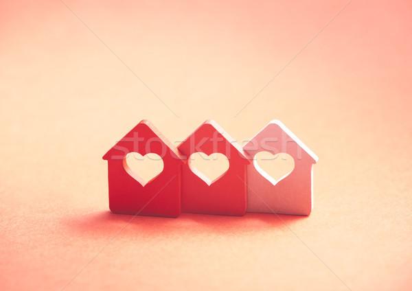 üç küçük evler kalp ev kırmızı Stok fotoğraf © sqback