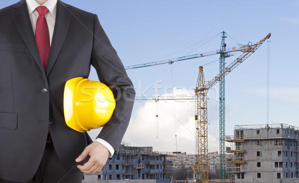Ingenieur zwart pak Geel helm bouwplaats Stockfoto © sqback