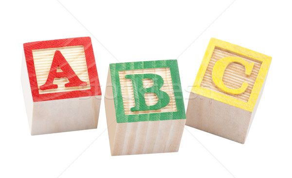 Stock photo: Wooden alphabet blocks with clipping path
