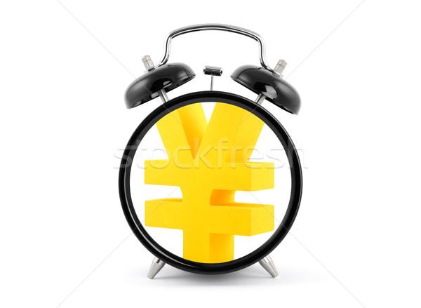 Az idő pénz ébresztőóra arany yen szimbólum üzlet Stock fotó © sqback
