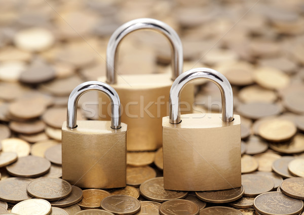 Financial security. Golden coins and padlocks. Stock photo © sqback