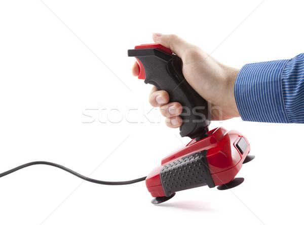 Computer bedieningshendel hand geïsoleerd witte Stockfoto © sqback