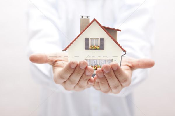 небольшой игрушку дома рук человека домой Сток-фото © sqback