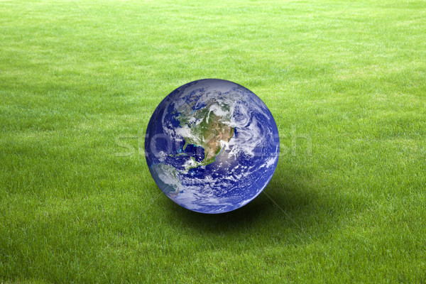 Planet Earth on green grass. Earth Day concept. Earth image provided by Nasa.  Stock photo © sqback