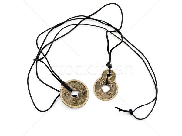 Amulett Hieroglyphe Metall weiß Zeichen chinesisch Stock foto © SRNR