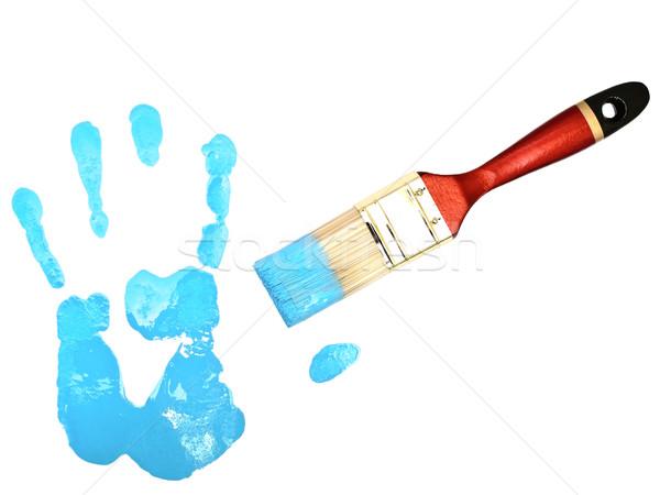 Mano stampa setola blu bianco abstract Foto d'archivio © SRNR