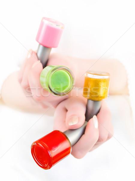 Vernis vrouw verschillend kleuren hand Stockfoto © SRNR